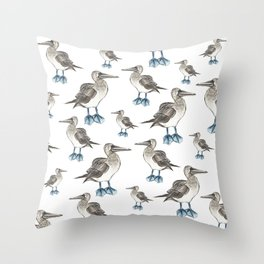 blue foot bobbie pattern Throw Pillow