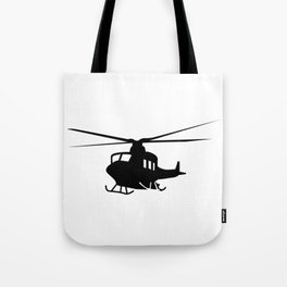 War Helicopter Silhouette Tote Bag