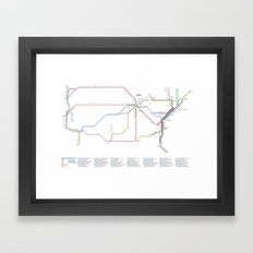 Amtrak Passenger Rail System Map Framed Art Print