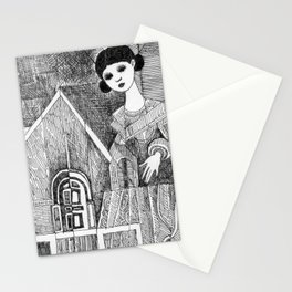 Girl on the top of her house. Stationery Cards
