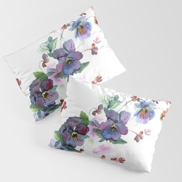 Watercolor hand painted pansies in gentle tone. Pillow Sham