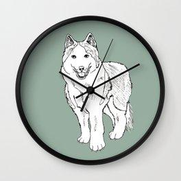 Sketch of siberian malamute Wall Clock