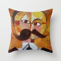 nietzsche Throw Pillows featuring Friedrich Nietzsche by Renee Bolinger