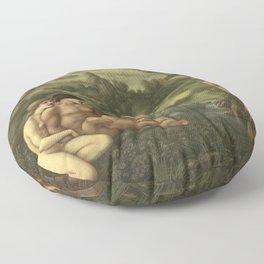 The garden of Pan by Edward Burne-Jones Floor Pillow