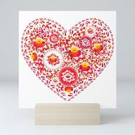 Valentine's Day card Heart made of red orange flowers on white background. Romantic invitation Mini Art Print