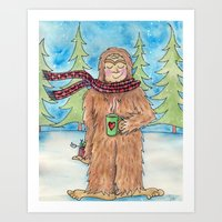 bigfoot Art Prints featuring Bigfoot by Jennifer Weger