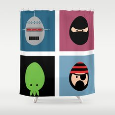 Robot Ninja Cthulhu Pirate Shower Curtain