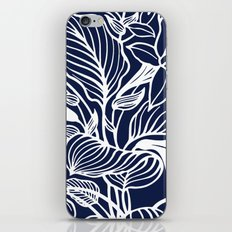 Indigo Navy Blue Floral iPhone Skin
