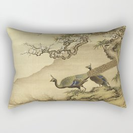 Shen Nan Pin - Album Of Birds And Animals (Peacocks). Rectangular Pillow