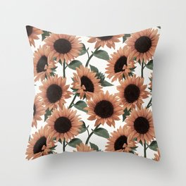 terracotta sunflowers Throw Pillow