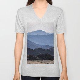 Mounain layers on desert Unisex V-Neck