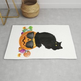 Black Cat Halloween Pumpkin Jack O' Lantern T-Shirt Rug