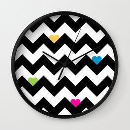 Heart & Chevron - Black/Multi Wall Clock