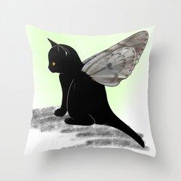 Black Kitten Fairy Throw Pillow