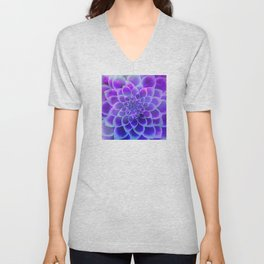 Mindfulness Purple-Pink and Blue Abstract Flower Unisex V-Neck