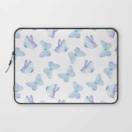 Lilac aqua blue watercolor hand painted butterfly Laptop Sleeve