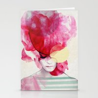 pink floyd Stationery Cards featuring Bright Pink - Part 2  by Jenny Liz Rome