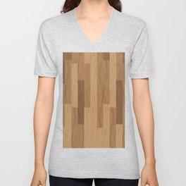 Multi Brown Wood Floor Pattern Unisex V-Neck