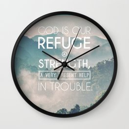 Typography Motivational Christian Bible Verses Poster - Psalm 46:1 Wall Clock