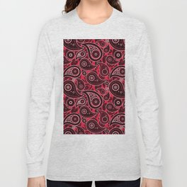 Crimson Red Paisley Pattern Long Sleeve T-shirt