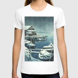 Kawase Hasui - Snow in Mukojima - Japanese Vintage Woodblock Painting T-shirt