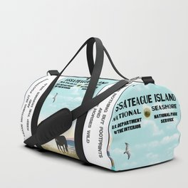 Retro WPA Style Poster Assateague Island Maryland Duffle Bag