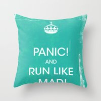 panic at the disco Throw Pillows featuring PANIC by Vin Zzep
