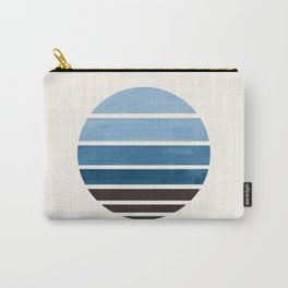 Blue Green Mid Century Modern Minimalist Circle Round Photo Staggered Sunset Geometric Stripe Design Carry-All Pouch
