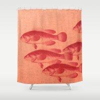 "fez Shower Curtains featuring Coletivo ""Peixes"" by Fernando Vieira"