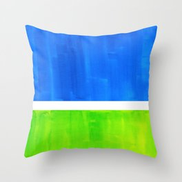 Abstract Minimalist Mid Century Modern Watercolor Geometric Squares Rothko Lime Green Marine Blue Throw Pillow