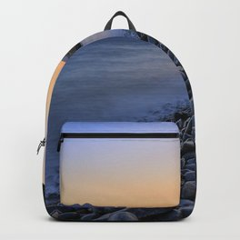 Carnaje Beach. Cabo de gata. At red sunset. Spain Backpack