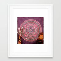 bedding Framed Art Prints featuring Purple Mandala Dorm Tapestry Wall Hangings Bedding by Ved India