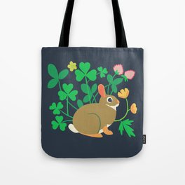 Cottontail Rabbit + Wood-sorrel + Red Clover + Buttercup Tote Bag
