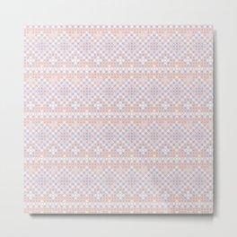 Vintage blush pink blue white cross stitch pattern Metal Print