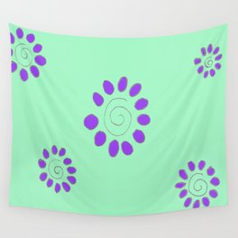 Sun Risen Flower, in purple and green Wall Tapestry