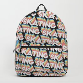 Skating Trendy Rainbow Text Pattern (Black) Backpack