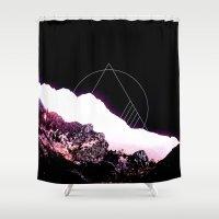 snowboard Shower Curtains featuring Mountain Ride by Schwebewesen • Romina Lutz