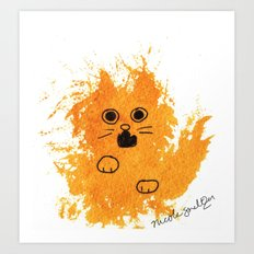 Ginger Cat Yowl Art Print