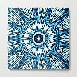 Blue White Black Explosion Metal Print