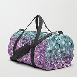Mermaid Scales on Aqua Purple MERMAID Girls Glitter #2 #shiny #decor #art #society6 Duffle Bag