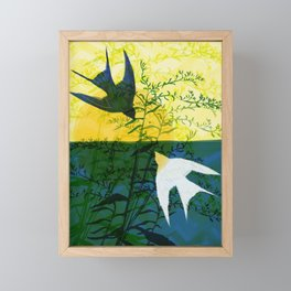 Sun and Swallows Framed Mini Art Print