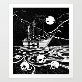 Steamboat across the Styx Art Print