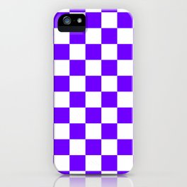 Checkered - White and Indigo Violet iPhone Case