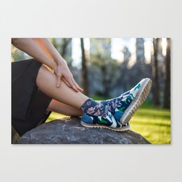 Woman`s fashionable casual summer outfit with black skirt, shoes and socks Canvas Print