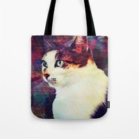 80s Tote Bags featuring 80s Cat by Bunhugger Design