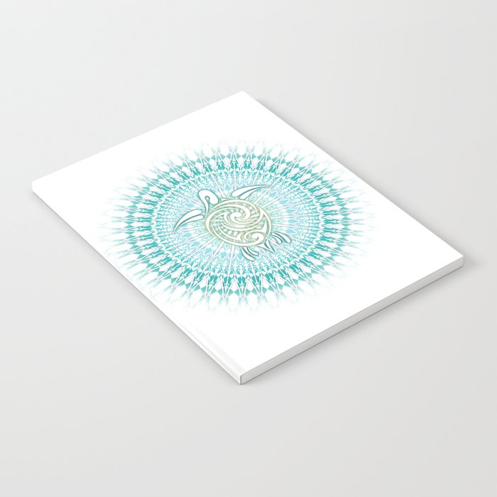 Turquoise Green Turtle And Mandala Notebook