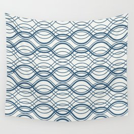 Blue Thin Overlapping Horizontal Lines Pattern on Off White Chinese Porcelain 2020 Color of the Year Wall Tapestry