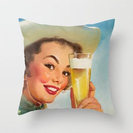 Pin Up Girl and Beer Vintage Art Throw Pillow