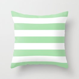 Celadon - solid color - white stripes pattern Throw Pillow