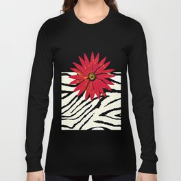 Animal Print Zebra Black and White and Red flower Medallion Long Sleeve T-shirt